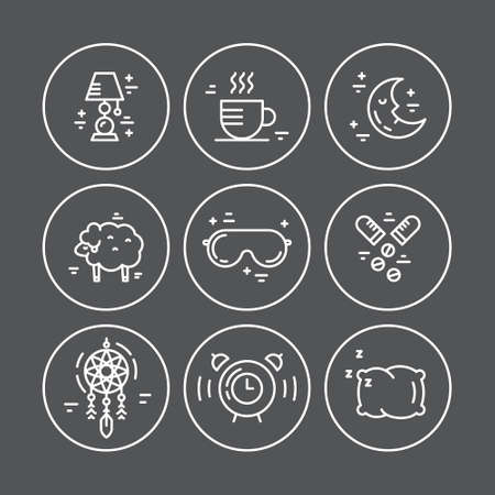 lying in bed: Collection of vector line icons with incomnia symbols. Sleep deprivation pictograms.