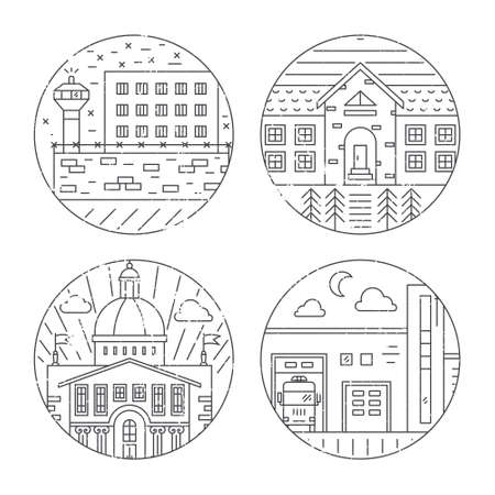 incarcerated: Vector illustration of different govenmental buildings including capitol, fire department, prison. Trendy line style vector illustration. City architecture concept. Government buildings.