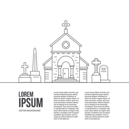 Modern line style vector cementry concept with place for your text. Tombstones and little church isolated on white background.