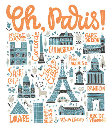 Handdrawn poster with symbols of France - vintage design handdrawn poster.