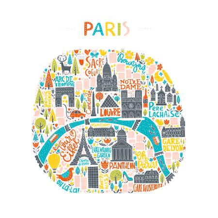 파리의지도 손으로 그려입니다. 여행 가이드, 포스터 또는 의류 디자인에 대 한 그림. 일러스트