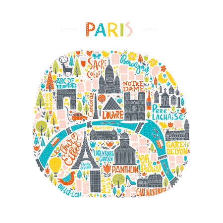 travel guide: Map of Paris drawn by hand. Illustration for travel guide, poster or apparel design.