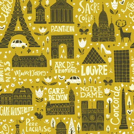 Unique seamless pattern with symbols of Paris. Illustration