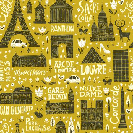 coeur: Unique seamless pattern with symbols of Paris. Illustration