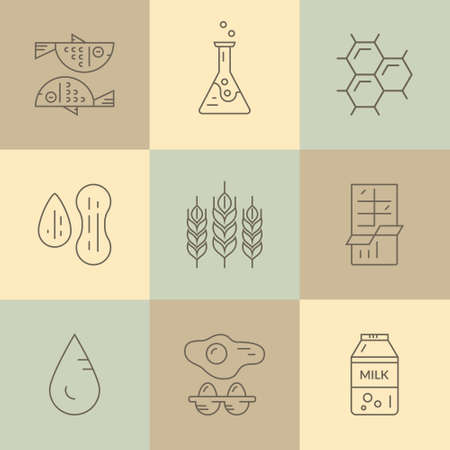 intolerance: Food allergen icons. Vector line series. Food intolerance symbols for restaurants, farm markets and menu. Special diet illustration.