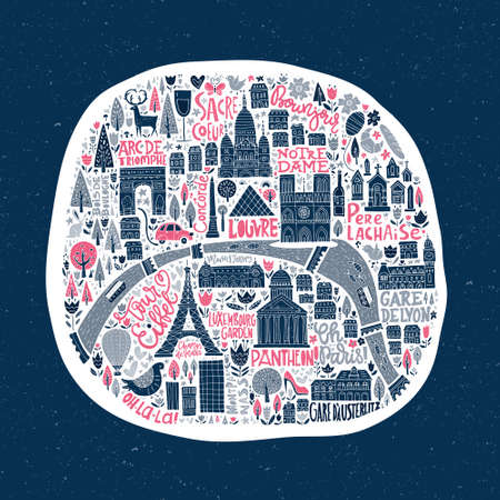 coeur: Cartoon map of Paris with famous sightseeings.
