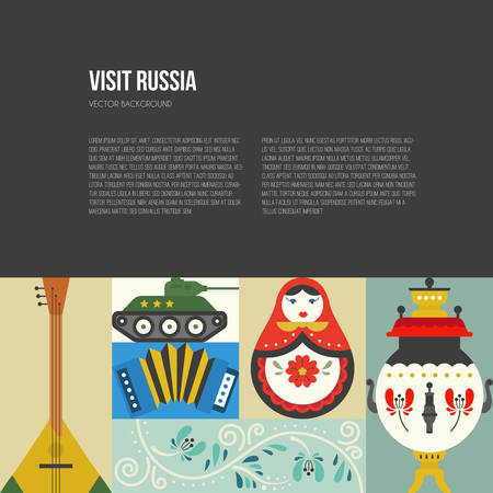 Different russian symbols on poster template with place for your text