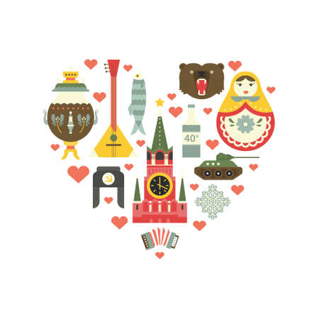 matryoshka: Different symbols of Russia in a shape of a heart - flat vector style illustration Illustration