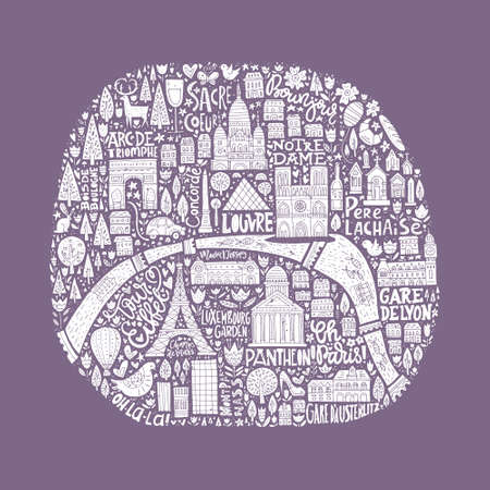 coeur: Map of Paris drawn by hand. Illustration for travel guide, poster or apparel design.