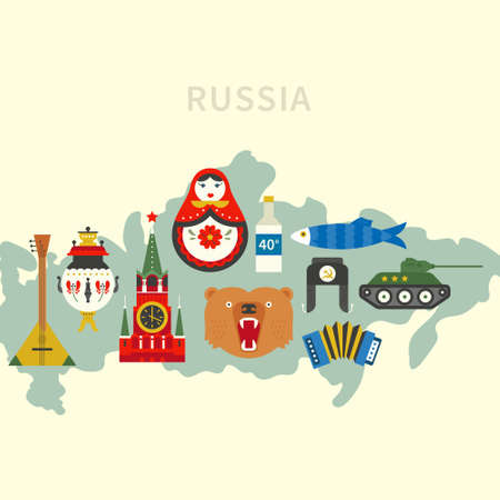 known: Well known Russian symbols on a map.