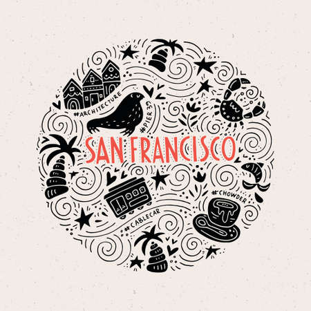 Le cercle avec les symboles et les lettrages de San Fransisco. Illustration vectorielle. Série USA.