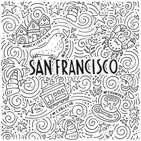 サンフランシスコ単語とスパイラル パターンで都市の異なるシンボル ベクトル イラスト。  イラスト・ベクター素材
