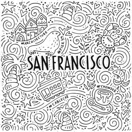 The San Francisco words and the different symbols of the city in the spiral pattern vector illustration.