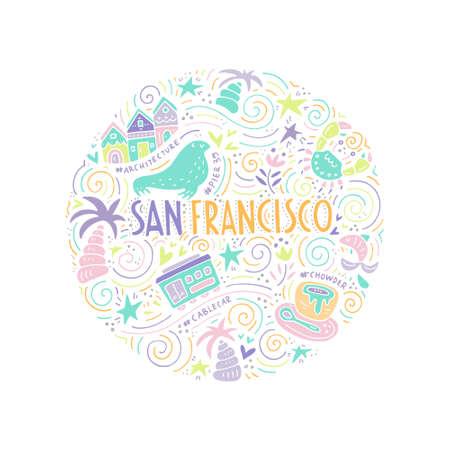 Le cercle avec les symboles et les lettrages de San Fransisco. Illustration vectorielle. Série USA. Vecteurs