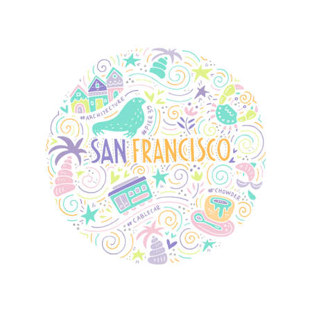 chowder: The circle with San Fransisco symbols and lettering. Vector illustration. USA series. Illustration