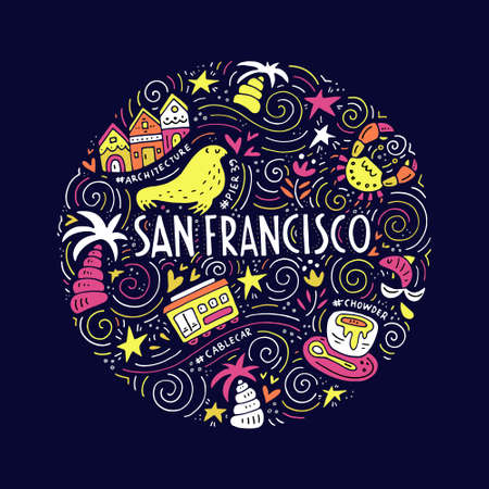 The circle with  San Fransisco symbols and lettering. Vector illustration. USA series. Illustration