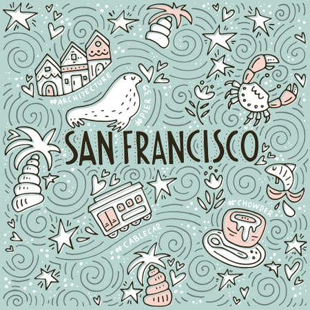 Illustration vectorielle avec des symboles de San Fransisco réalisés en style doodle avec des lettrages. Vecteurs