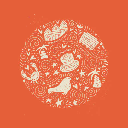 chowder: San Fransisco symbols in a circle shape. Vector illustration.
