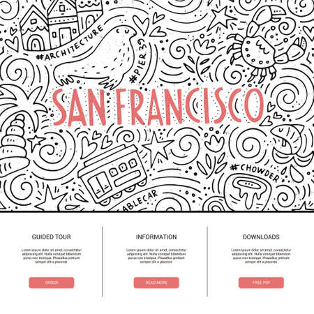 chowder: Website template with San Fransisco symbols. Clean and modern design.