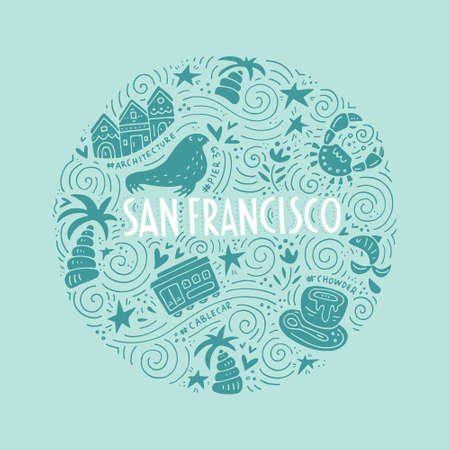 The circle with San Fransisco symbols and lettering. Vector illustration. USA series. Stock Illustratie