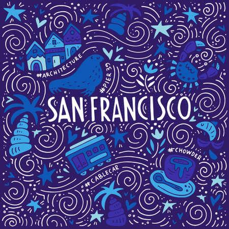 Illustration de San Fransisco avec des symboles de la ville. doodle illustration vectorielle.