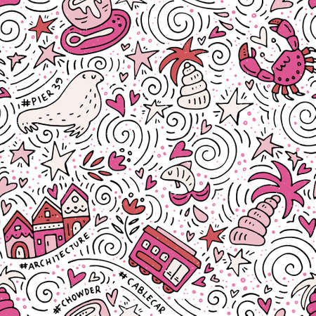 chowder: Seamless pattern with San Fransisco symbols. Vector texture - USA series.