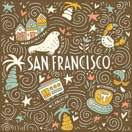 chowder: Illustration of San Fransisco with symbols of the city. Vector doodle illustration.