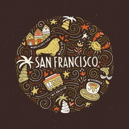 サンフランシスコのシンボル  イラスト・ベクター素材