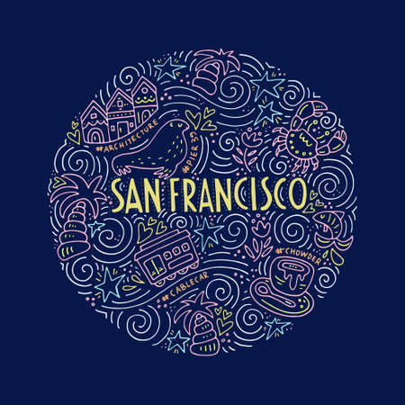 Symbols of San Fransisco Stock Illustratie