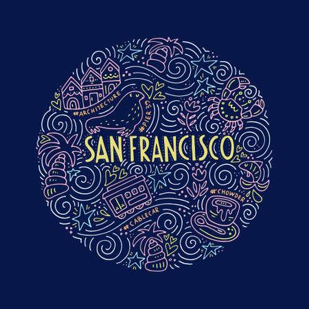 chowder: Symbols of San Fransisco Illustration