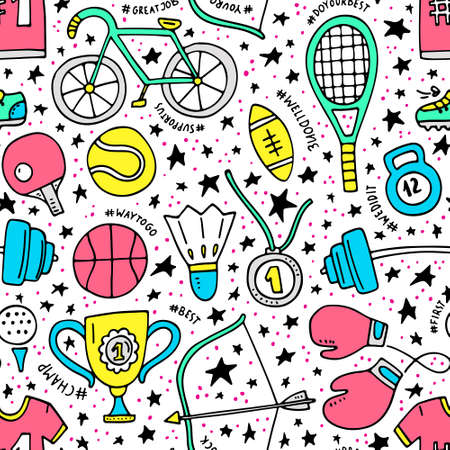 Unique seamless pattern with sport elements.