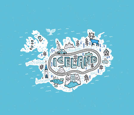 Cartoon map of Iceland. Handdrawn illustration with all main tourist attractions. Illustration