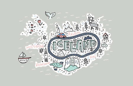 Cartoon kaart van IJsland. Handgetekende illustratie met alle belangrijke toeristische attracties. Vector Illustratie