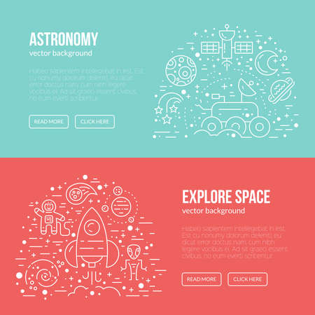 Banner or flyer template with different cosmos items - rover, spaceship, planets, alien, cosmonaut. Line style vector. Illustration