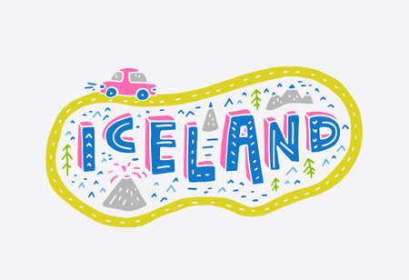 ring road: Illustrated sign Iceland with ring road and a car.