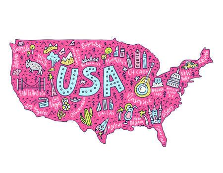 Voyage à la carte de dessin animé des États-Unis. Illustration des États-Unis avec toutes les principales villes et attractions touristiques en vecteur.