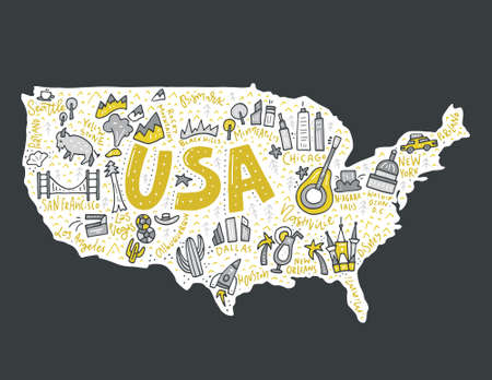 Map of United States in cartoon style. Travel USA concept. Stock Vector - 75273356