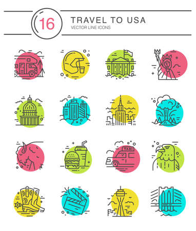 Vector set of line icons with symbols of United States. Illustration