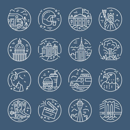 Icônes américaines. Voyagez aux symboles des États-Unis dans un vecteur de style linéaire. Vecteurs