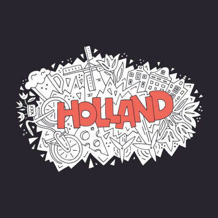 Vector illustration of Holland. All main symbols of the country. Tourist banner.