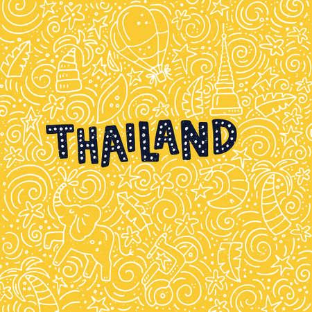 Ilustración de Tailandia con símbolos de la ciudad. Ilustración del doodle del vector.