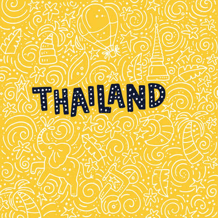 turismo: Illustration of Thailand with symbols of the city. Vector doodle illustration.
