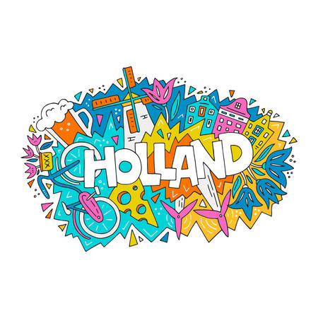 The vector illustration Holland word and the bright colorful symbols of a country. Illustration