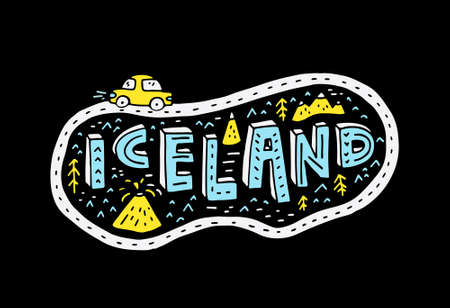 Illustrated sign Iceland with ring road and a car.