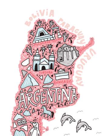 아르헨티나의 손으로 그린 그림입니다. 남미 국가의 만화지도입니다. 일러스트