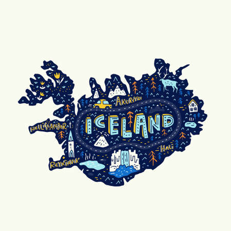 Illustrated map of Iceland. Vector cartography. Main tourist attractions made in vector. Illustration