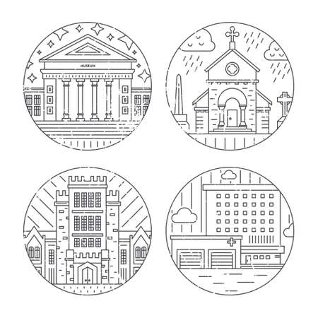 art museum: Vector illustration of different govenmental buildings including university, church, hospital. Trendy line style vector illustration. City architecture concept. Government buildings.