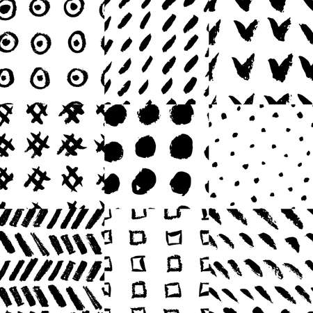 Collection of nine hand drawn rough seamless pattern, each one can be used separately. Rough vectore textures. Illustration