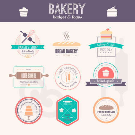 ベクトルロゴ パン屋さんのセットです。パンと落ち着いたラベル、バッジおよびデザイン要素。新鮮な焼き菓子。