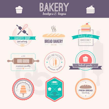 Conjunto de logotipos de panadería de vector. Etiquetas de pan y pastas, insignias y elementos de diseño. Productos recién horneados. Foto de archivo - 76056318